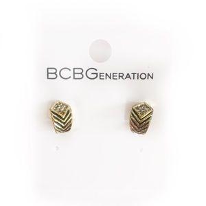 BCBGENERATION STUD EARRINGS GOLD TONED RHINESTONE